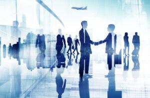 Business People Walking Meeting Handshake Travel Concept
